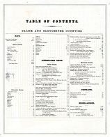Table of Contents, Salem and Gloucester Counties 1876